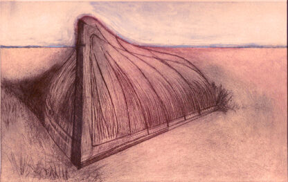 Drypoint of an upturned boat